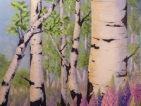 Lupins Along the Trail | Acrylic by Lee Rawn