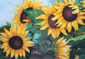 Sunflowers, watercolor